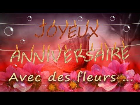 Joyeux Anniversaire Carte D Anniversaire Femme Avec Des Fleurs