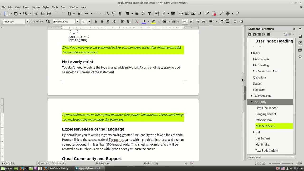 LibreOffice: Modify and Create Styles