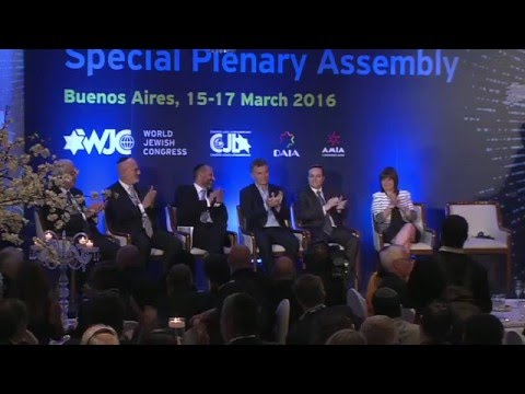 WJC Plenary Assembly in Buenos Aires: Ronald Lauder introduces President Macri
