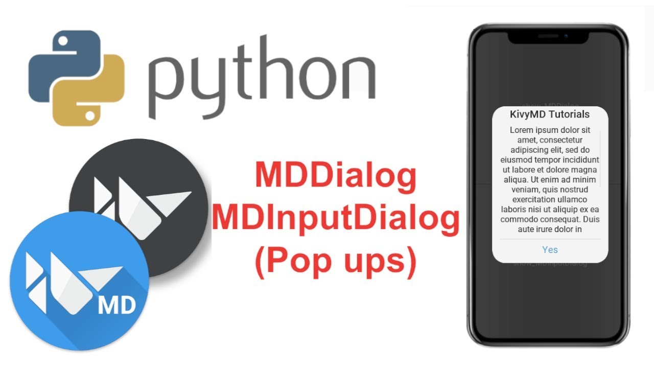 Learn to Make Beautiful Mobile Apps in Python | KivyMD Tutorial - MDDialog (Pop Ups)