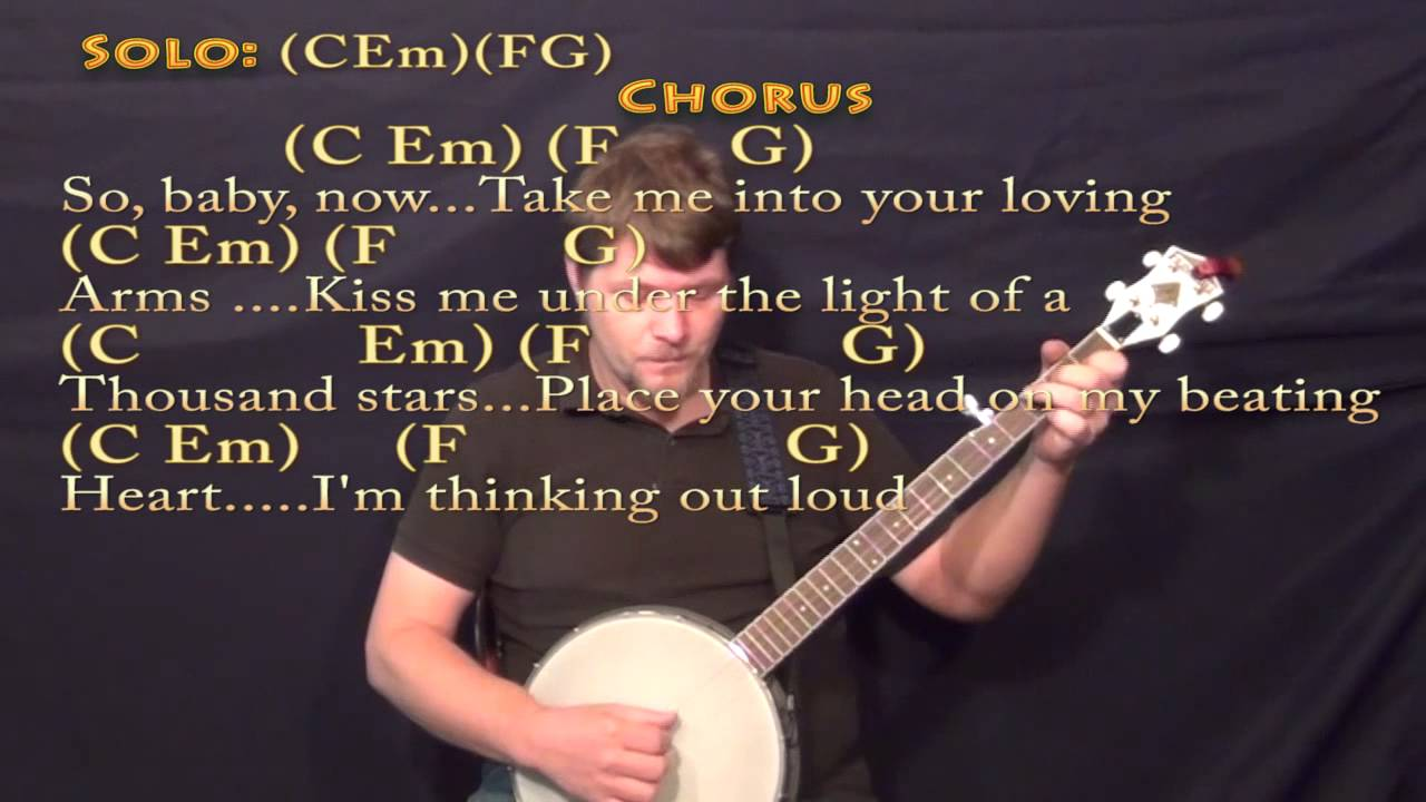 Thinking out loud ed sheeran banjo cover lesson with chords lyrics