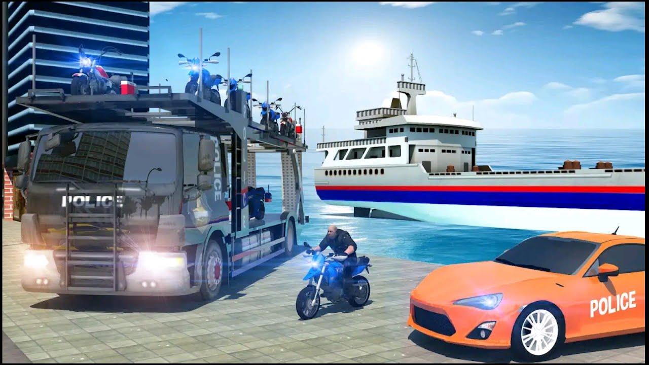 ô tô xe máy vận chuyển xe cảnh sát | Grand Police Bike Transporter Truck 2021| android gameplay