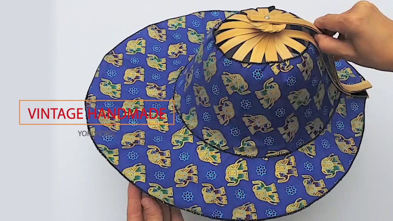 HAT   FAN THAI STYLE FABRIC BAMBOO VINTAGE HANDMADE GIFTS SOUVENIRS  COLLECTIBLES DECORATE e1add22dcbf