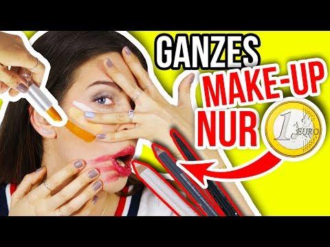 MIT 1€ SHOP SCHMINKE GANZES MAKE-UP SCHMINKEN?!! 😵💄 Geht das? 1 Euro Shop EXPERIMENT | Kim Lianne