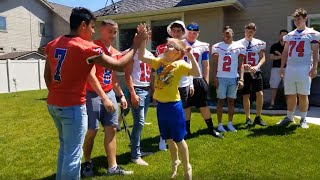 Football team attends boy with autism's party