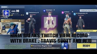 NINJA PLAYS FORTNITE WITH DRAKE, TRAVIS SCOTT AND JUJU! BREAKS TWITCH RECORD!