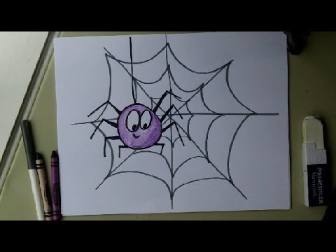Draw a Cute Spider on a Web. Easy drawing tutorial. Halloween! For ...