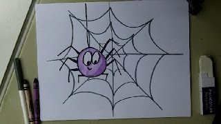 Draw a Cute Spider on a Web.  Easy drawing tutorial.  Halloween!  For kids, or beginners.