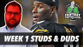 Fantasy football 2017 - week 1 studs & duds, rising stars, injury tears - ep. #433