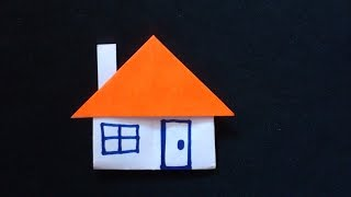 Cara Membuat Origami Rumah Dengan Cerobong Asap   Origami Rumah   Origami Bangunan