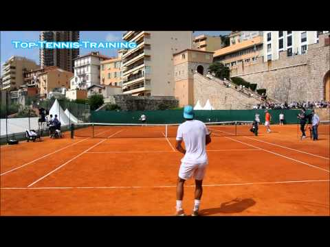 Nadal vs Ferrer Training Match 2014-COURT LEVEL VIEW