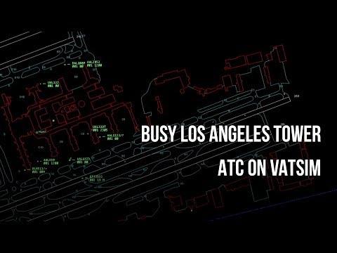 Busy Los Angeles Tower ATC on VATSIM