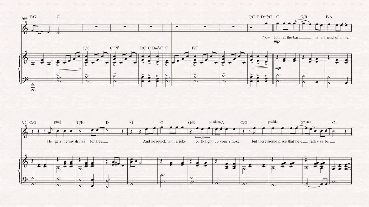Flute - Piano Man - Billy Joel - Sheet Music, Chords, u0026 Vocals - YouTube