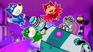 Wolfoo Cartoon ★ウルフーふりプレイ:PJマスクがロミオのロボットと戦う★どうぶつのアニメ★ アニメキッズ