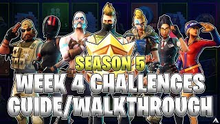 ALL WEEK 4 BATTLE PASS CHALLENGES! (Fortnite Battle Royale Season 5)