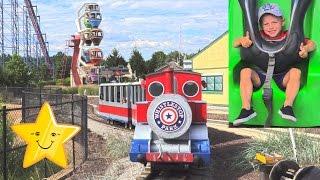 СУПЕР ВЕСЕЛЫЙ Парк Аттракционов Для Детей Six Flags Америка Влог Макс На Больших Горках