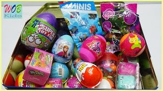 Mở Trứng Đồ Chơi Bất Ngờ | 20 Surprise Eggs Kinder Joy Shopkins Dinosaur Pony Frozen Elsa | WOB KIDS