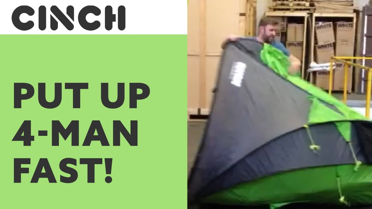 CINCH 2014 ?4 MAN POP UP TENT being put up in SECONDS? TUTORIAL  sc 1 st  YouTube & CINCH 2014 ?4 MAN POP UP TENT being put up in SECONDS? TUTORIAL ...