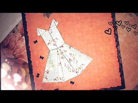 How to make origami paper dress   origami dress DIY   origami dress tutorial