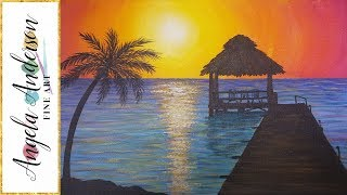 Easy Sunset Ocean Seascape Acrylic Painting Tutorial | Summer Beginner Lesson | How to Paint Water