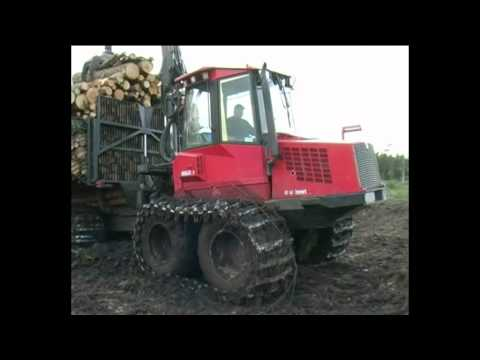 Forestry machines in a row from the harvester to the forwarder Valmet, Timberjack and Ponsse