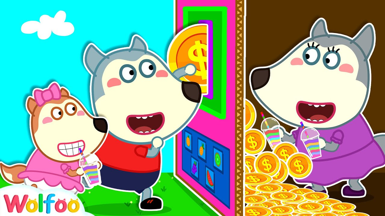 Wolfoo and Mommy Plays Colorful Vending Machine Toy for Kids   Wolfoo Channel Kids Cartoon