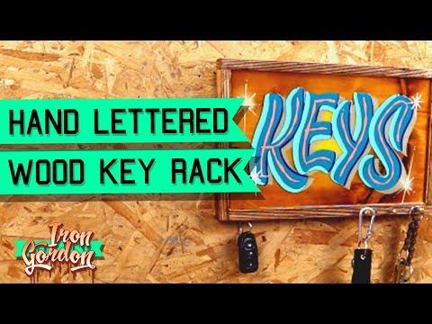 DIY Key Holder Hand Lettered Sign and Key Rack