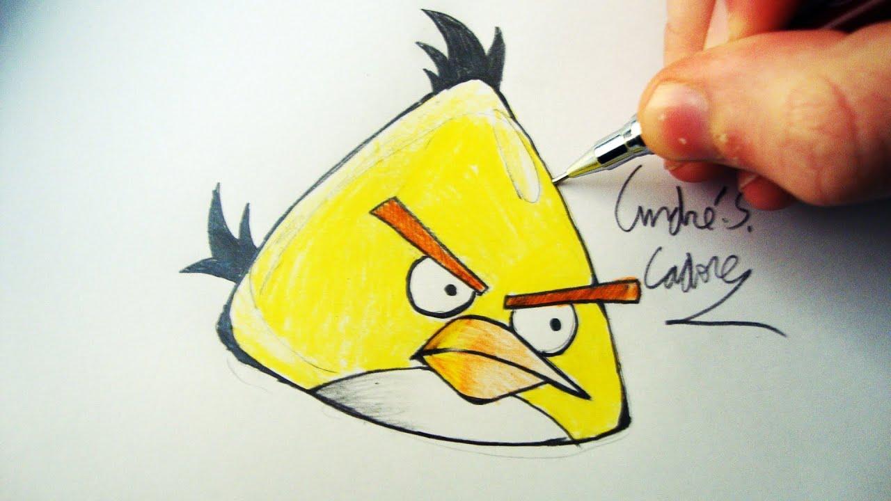 Como Desenhar O Pássaro Amarelo De Angry Birds Personagem: Como Desenhar Um Yellow Bird [Angry Birds]
