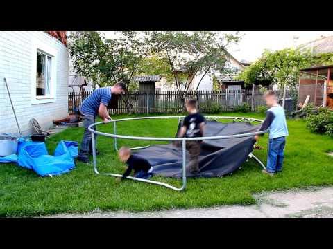 Как собирать батут с сеткой видео