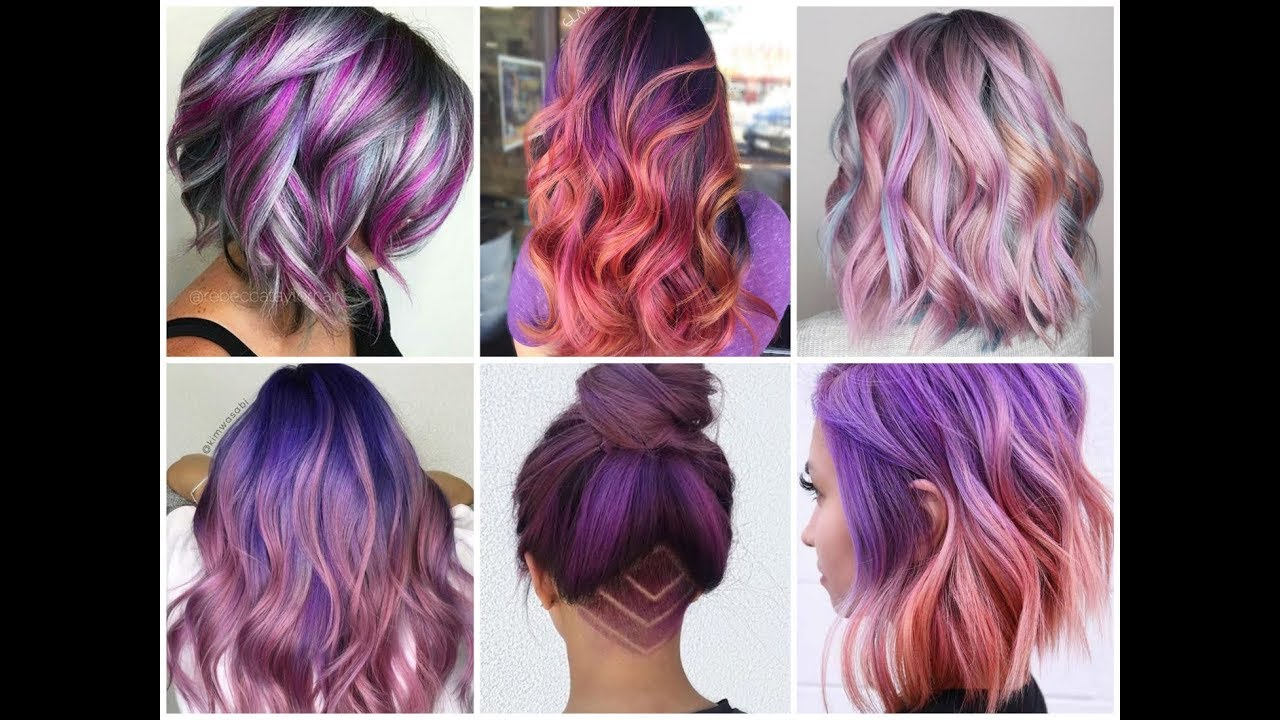 pretty purple highlights and balayage ideas for blonde, brunette and red hair