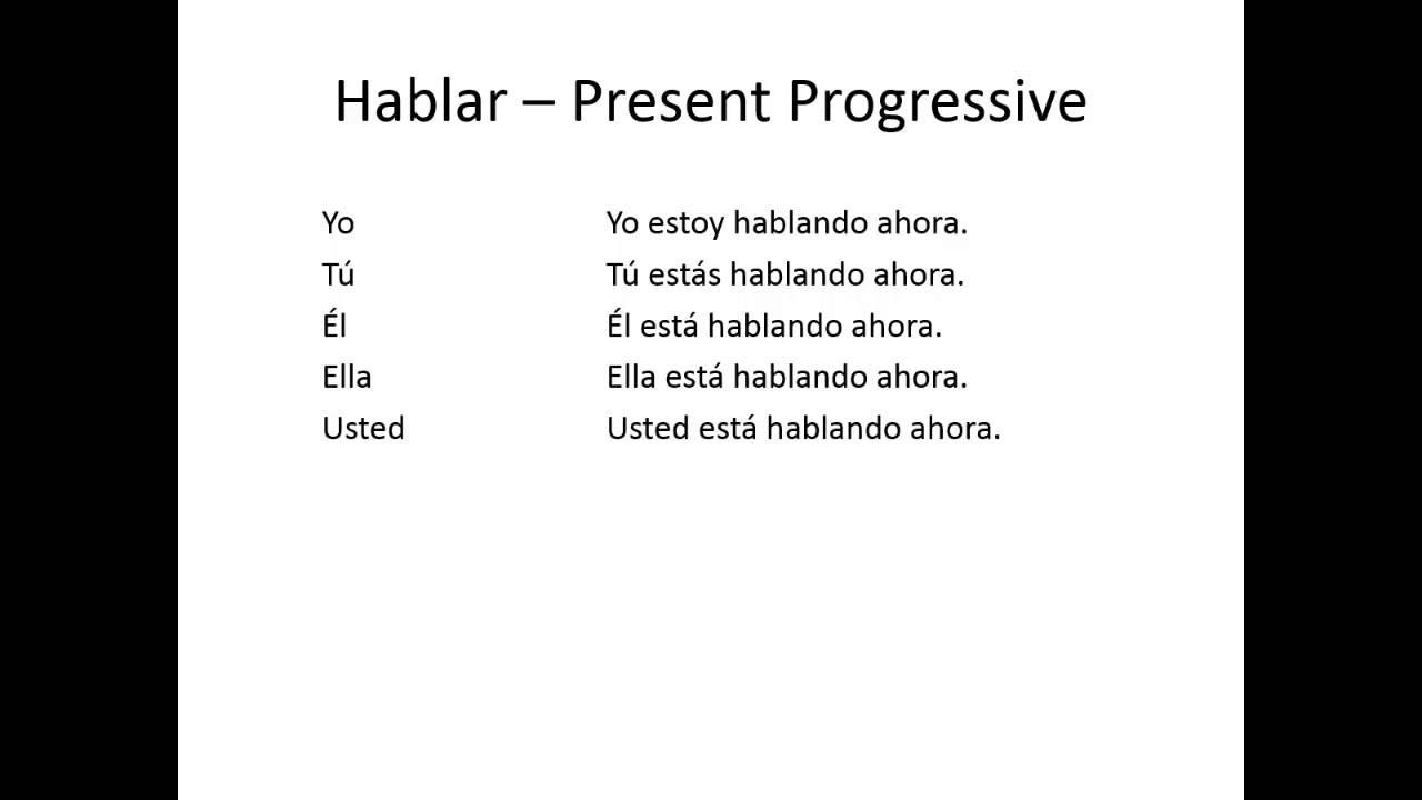 Spanish Tense Progressive Past