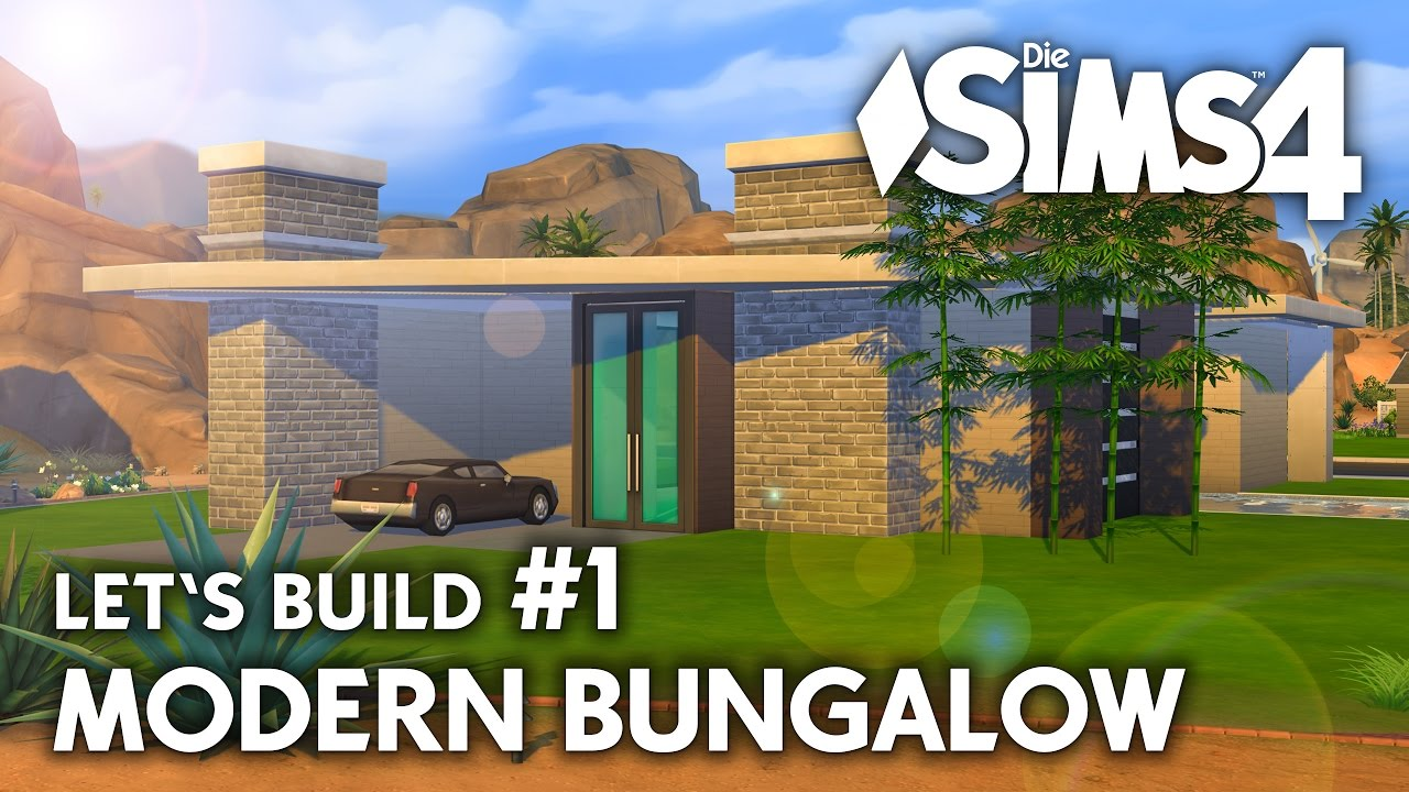 die sims 4 haus bauen modern bungalow 1 let 39 s build deutsch youtube. Black Bedroom Furniture Sets. Home Design Ideas