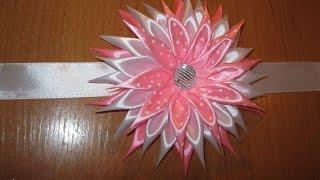 Канзаши,Атласная лента.повязка для девочки