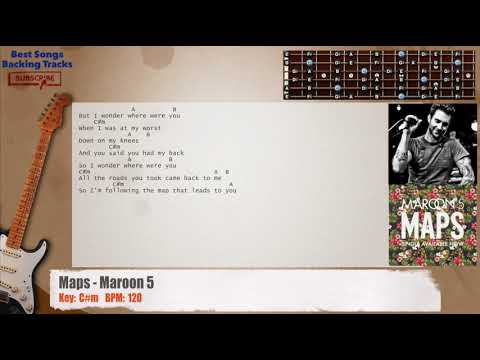 Maps - Maroon 5 Guitar Backing Track with chords and lyrics - YouTube