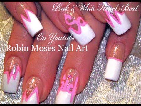 Pink and White Heart Beat Nails | Valentine Diva Nail Art Design ...