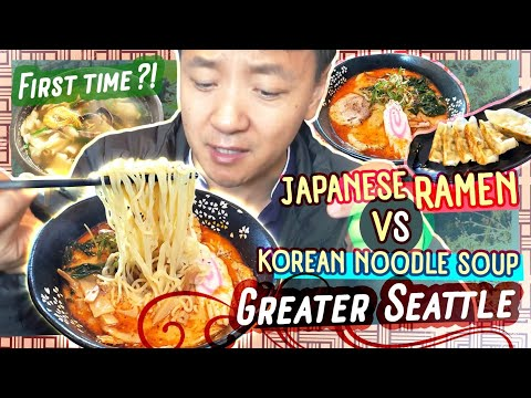 JAPANESE RAMEN vs KOREAN NOODLE SOUP & First Time Eating at Restaurant in KOREATOWN Federal Way