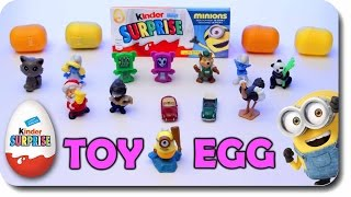 6 Surprise Eggs!!! Toys CARS Disney MINION and more Finger Family Nursery Rhymes