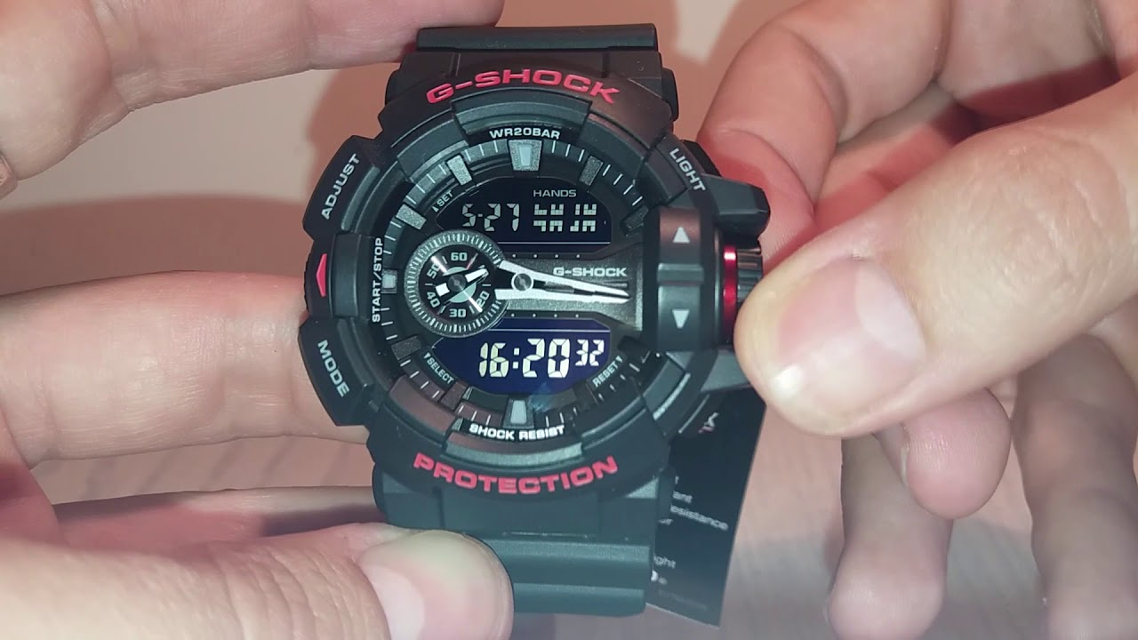 watch 59228 78670 G-Shock GA-400 manual 5398 to set time and calibration