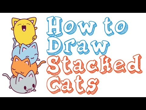 How To Draw Cute Kawaii Animals Stacked Cats On Top Of Each Other