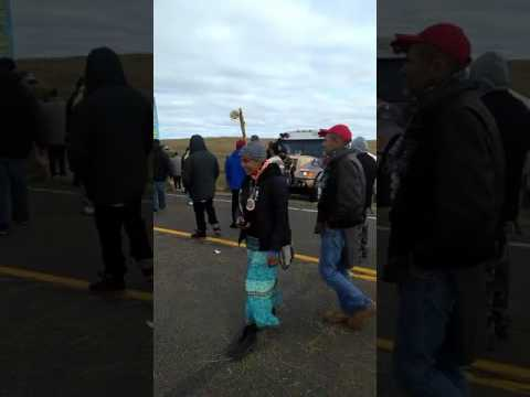 Water Protectors Blocking Police on Hwy 1806 on Standing Rock Reservation!!