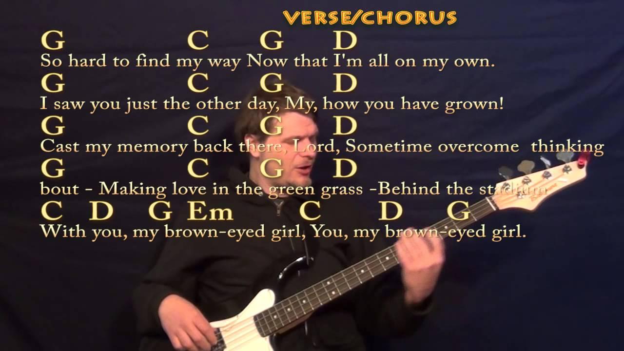 Brown Eyed Girl Van Morrison Easy Bass Cover Lesson With Lyrics