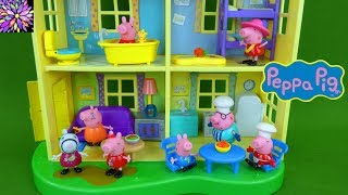 Peppa Pig Toys Lights & Sounds Family Home Doll House Play Set George Mummy Daddy Pig Girl Toy Video