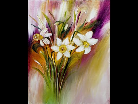 Acrylic Painting/Daffodils/Abstract Background/Acrylmalerei/Narzissen/Abstrakter