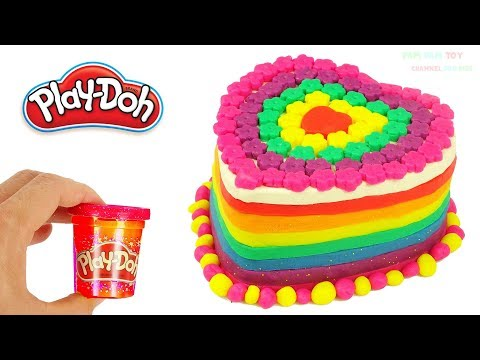 Thumbnail: Learn Colors Play Doh Making Rainbow Heart Birthday Cake Surprise Toys for Kids