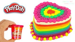 Learn Colors Play Doh Making Rainbow Heart Birthday Cake Surprise Toys for Kids