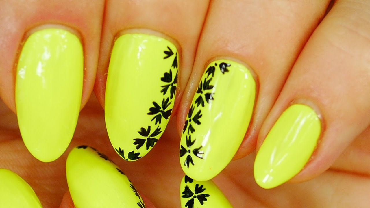 Nail Art. Neon. Simple Design and Beautiful !!!!! - YouTube