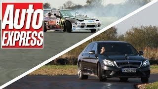 New Mercedes S63 AMG vs Nissan 200SX drift off - Auto Express
