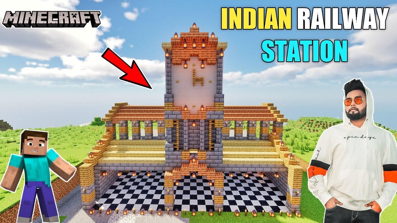 BUILDING INDIAN RAILWAY STATION IN MINECRAFT || BB IS LIVE