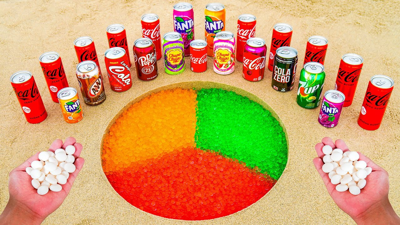 Different Coca Cola Cans, Fanta, Chupa Chups, 7up, Other Sodas, Orbeez and Mentos Underground Hole