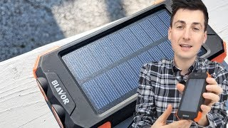 Solar Power Phone Charger Review | BLAVOR Solar Power Bank 10000mah Wirless Qi Charging w/ USB C